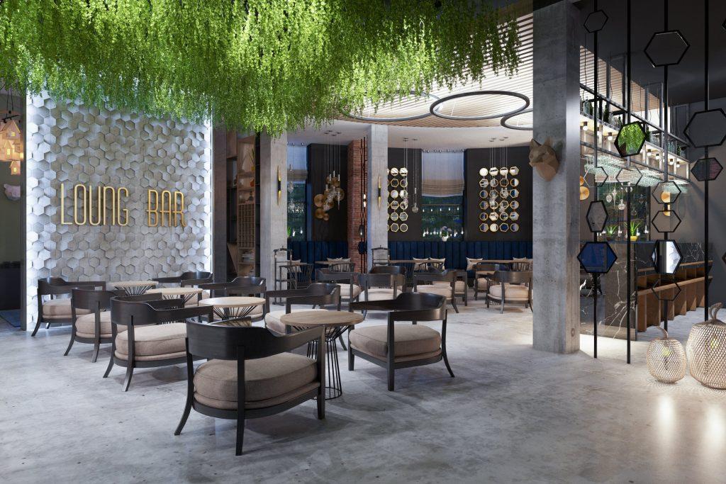 Arredamento Ristorante stile Lounge Bar Green