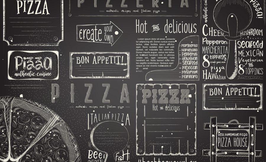 Template Menù Pizzeria, Bianco e Nero